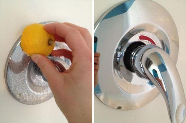 cleaning hacks, cleaning, lemon, tap, faucet, clean